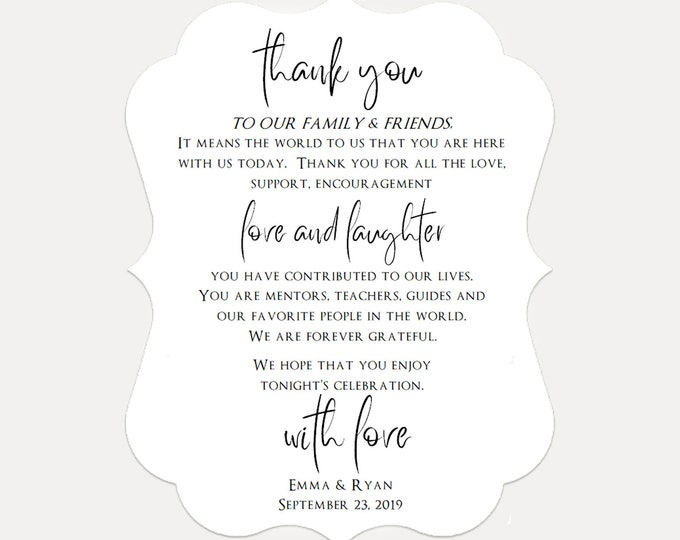 Wedding Reception Thank You Card, Personalized Thank You Card, Wedding Thank You Place Setting, Reception Card (2008)