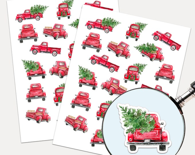 Rustic Christmas Truck Stickers, Envelope Seals, Planner Stickers, Red Truck, Christmas labels, Rustic (3382)