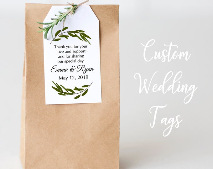 Personalized Wedding Tags, Thank You Tags, Gift Tags, Bridal Favor, Wedding, Party Favor, Gift Tags - Set of 32