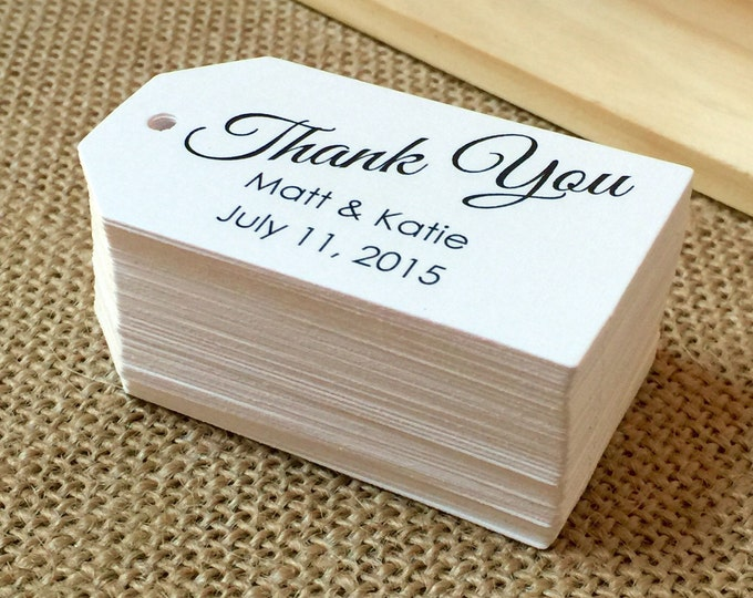 Personalized Thank You Tags, Supplies, Gift Tags, Hang Tags, Bridal Favor, Bracket, Die Cut - Set of 25