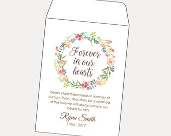 NEW SIZE - DIY Custom Seed Packets, Celebration of Life, Kraft, Personalized Envelopes, Memorial Gift, Seed Packet, Funeral