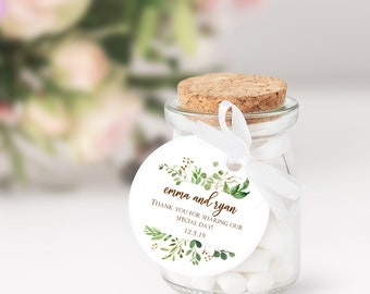 Thank You Tags for Favors, Wedding Gift Tags, Personalized Favor Tags, Eucalyptus, Greenery Foliage Tags (6605)
