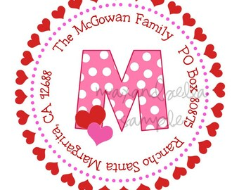 Pink Polka Dot Monogram with Hearts Personalized Sticker, Valentines Day, Baking, Goodie Bags, Holiday, Gift Tags, Pink, Hearts - Set of 12