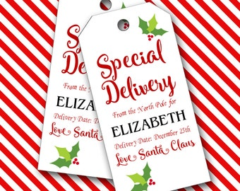 Santa Tags, Special Delivery from Santa, Christmas Tags, Personalized Tags  - Set of 16