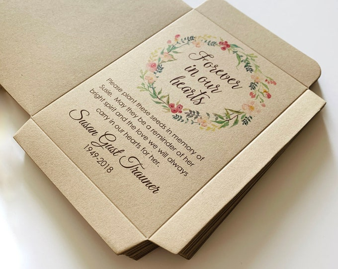 Memorial Seed Packets, Kraft, Funeral Seed Packets, Funeral Favors, Memorial Seed Packets, Forget Me Not, Celebration of Life