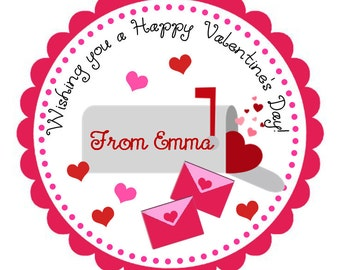 Valentine's Day Mail Personalized Stickers, Valentine's Day, Goodie Bag Tags, Gift Tags, Party Favors, Pink, Hearts  - Set of 12