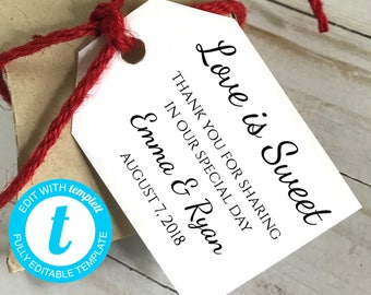 DIY EDITABLE Tags  |  Love is Sweet |  Printable Gift Tags | Wedding Gift Tags | Printable Wedding Thank You Tag  | Instant Download