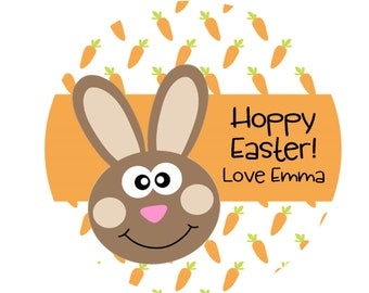 Easter Stickers, Hoppy Easter, Bunny Stickers, Childrens Easter Stickers, Kids Easter, Personalized Stickers - Set of 12