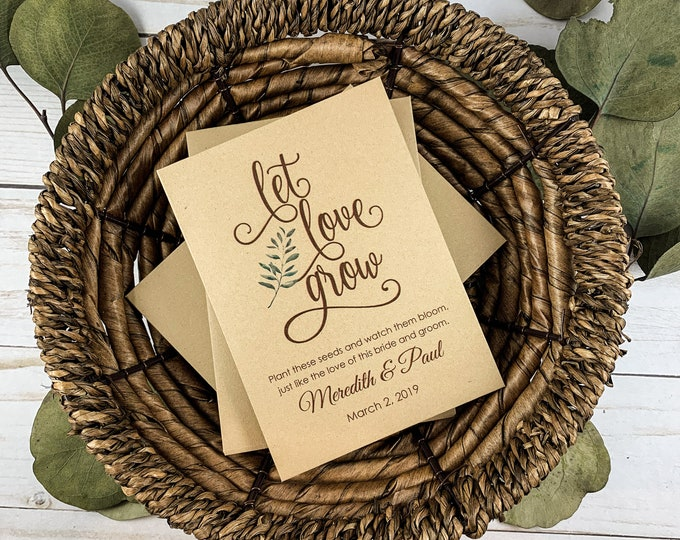 DIY Custom Seed Packets, Let Love Grow Seed Packets, Flower Seed Packets, Kraft, Bridal Shower, Wedding Seed Packets, Love Grows Wild