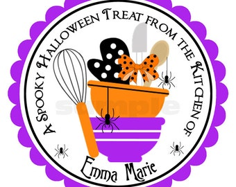Halloween Baking Personalized Stickers, party favors, personalized sticker, labels,  seals, gift tags - Set of 12