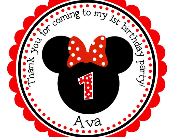 Personalized Minnie Mouse Stickers, Disney Stickers, Mickey Mouse, Birthday Stickers, Minnie Mouse Decal, Party Favor, Stickers