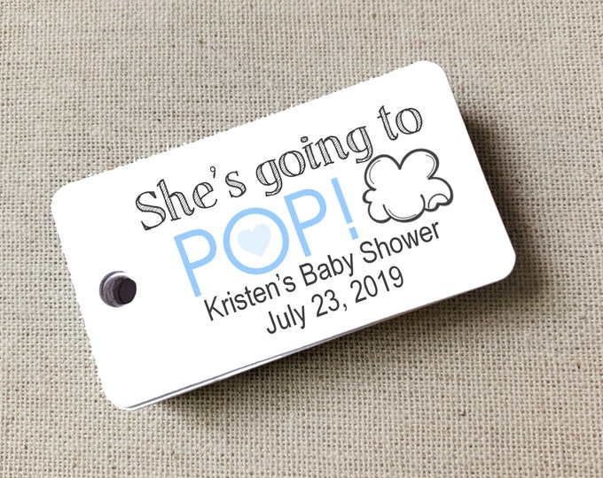 She's Going to Pop, She's Ready to Pop, Baby Shower, Favor Tags Girl Boy Baby Shower Gift Tags Custom Tags, Set of 20