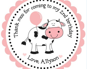 Cow Birthday Personalized Stickers, Farm Stickers, Birthday, Gift Tags, Party Favors, Gift Tag, Girl, Cow - Set of 12