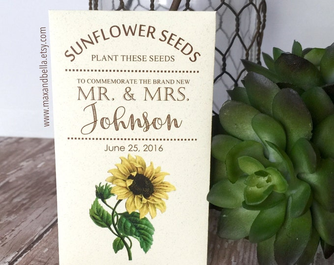 DIY Custom Seed Packets, Sunflower Envelope, Kraft, Personalized Envelopes, Wedding Favors, Bridal Shower, Seed Packet, Let Love Grow