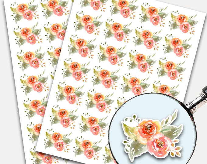 Watercolor Stickers, Envelope Seals, Planner Stickers, Botanical Flowers, Watercolor, Coral, Nature Greenery, Peach Flowers (3594)