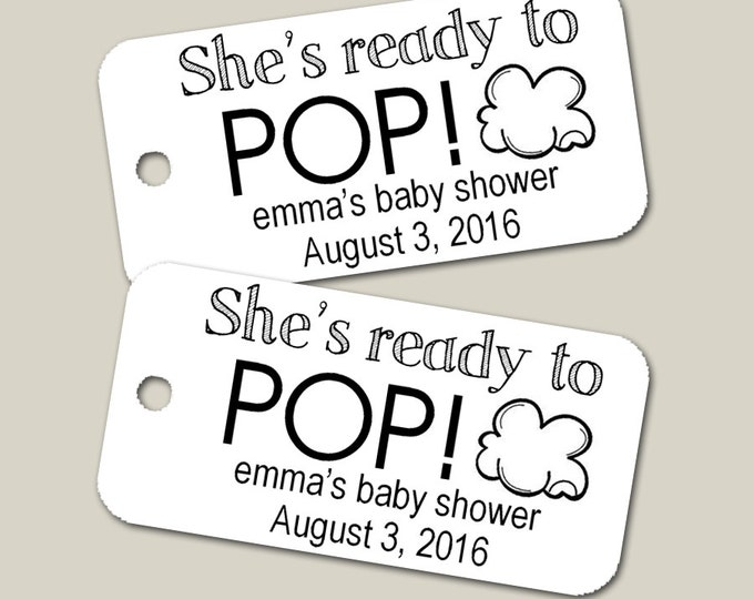 Mini Personalized Ready to Pop Tags, Baby Shower Tags, Personalized Tags, Custom Tags, Gift Tags, Personalized - Set of 20