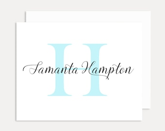 Monogram Personalized Stationery Set, Personalized Folded Note Cards, Personalized Thank You Cards, A2 Card