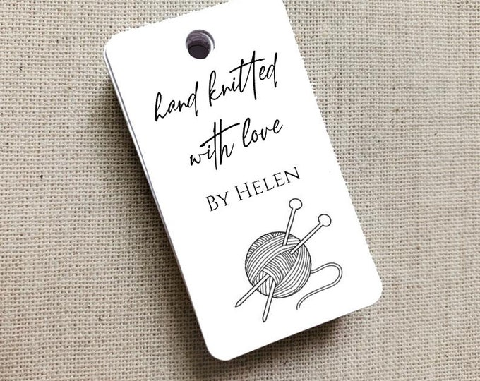 Knitting Yarn Personalized Gift Tags, Handmade with Love Tags, Etsy Product Tags, Etsy Shop Labels, Shop Tag - Set of 20 (3753)