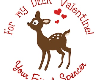 Valentine's Deer Personalized Stickers, Valentines Day, Goodie Bags, Holiday, Gift Tags, Pink, Hearts - Set of 24
