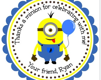 Minion Stickers, Personalized Stickers, Boy Birthday, Minion Party Tags, Minions Party, Yellow, Blue, Party Favor - Set of 12