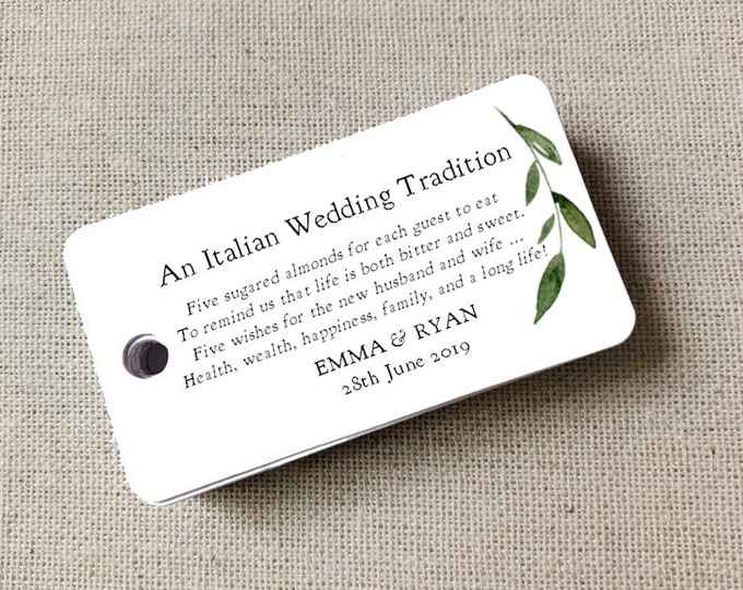 Sugared Almonds Personalized Gift Tags, Almon Favor Tags, Wedding Favor Tag, Wedding Bomboniere, Jordan Almonds - Set of 20 (3972)