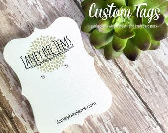 "50 Custom Logo Earring Tags, Bracket Cards, Earring Cards, 2 1/2""h x 3 3/8""w"