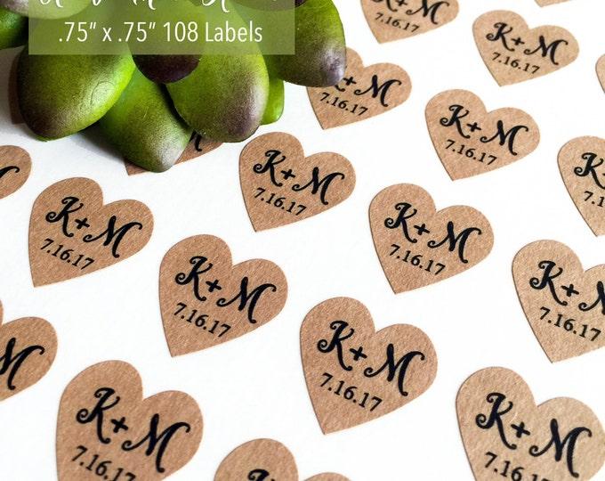 108 Mini Kraft Heart Stickers, Custom Labels, Wedding Labels, Personalized Labels, Heart Labels, Monogram Labels