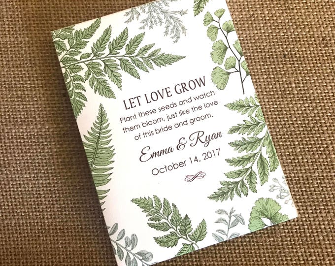 DIY Custom Seed Packets, Kraft, Personalized Envelopes, Wedding Favors, Bridal Shower, Seed Packet, Let Love Grow
