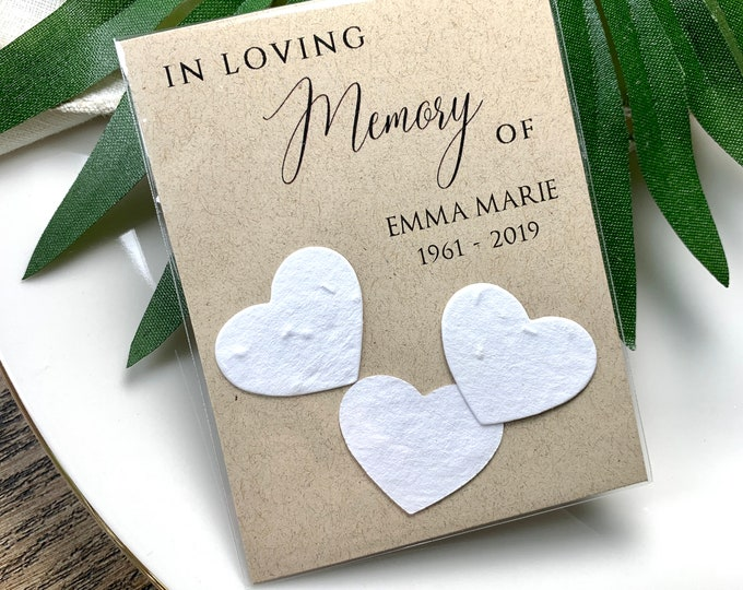 DIY Plantable In Loving Memory, Forget Me Not, Memorial Cards, Plantable Seed Paper Hearts 1235
