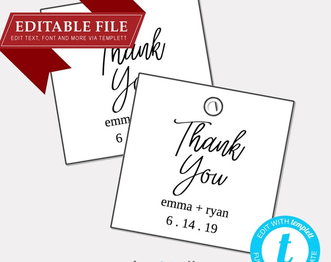 DIY EDITABLE Tags  |  Thank You Tags (2010) |  Printable Gift Tags | Wedding Gift Tags | Printable Wedding Thank You Tag  | Instant Download