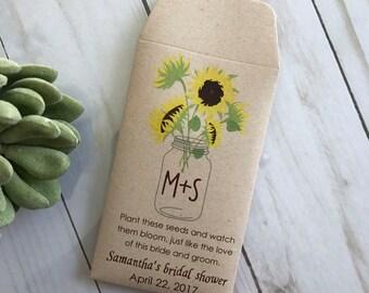 DIY Custom Seed Packets Sunflower, Custom Envelope, Kraft, Personalized Envelopes, Wedding Favors, Bridal Shower, Seed Packet, Let Love Grow