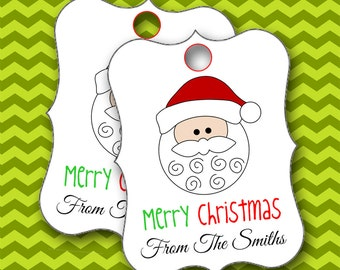 Christmas Tags, Santa ClausTags, Personalized Christmas Tags, Hang Tags, Party Favors, Place Cards - Set of 8