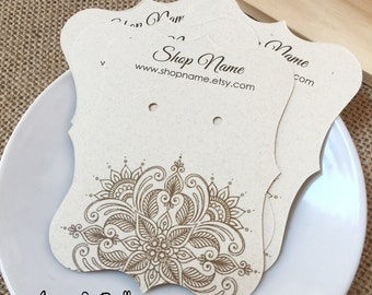 """50 Personalized Product Earring Cards, Henna Theme Tags, Bracket Cards, Earring Cards, 2 1/2""""w x 3 3/8""""h, White or Creme Color Card Stock"""