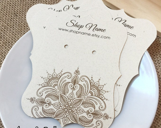 "50 Personalized Product Earring Cards, Henna Theme Tags, Bracket Cards, Earring Cards, 2 1/2""w x 3 3/8""h, White or Creme Color Card Stock"