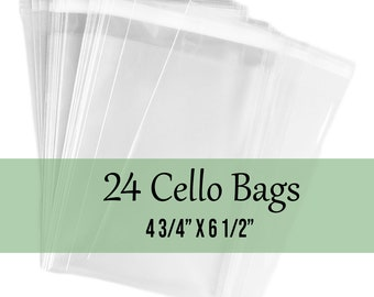 """25 Clear Treat Bags, Cello Bags, Resealable Cello Bags, Flat Clear Bags 4 3/4"""" x 6 1/2"""""""