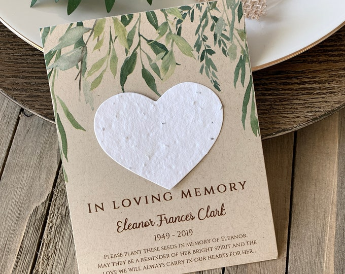 DIY Plantable In Loving Memory, Forget Me Not, Memorial Cards, Plantable Seed Paper Hearts 3997