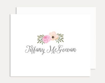 Personalized Floral Note Cards, Personalized Stationery Set, Personalized Folded Note Cards, Personalized Thank You Cards, A2 Card
