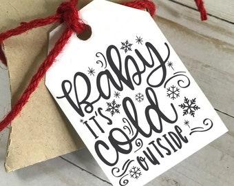 DIY PRINTABLE Tags  |  Baby it's Cold Outside |  Printable Christmas Gift Tags | Holiday Gift Tags | Gift Tags, Christmas Tags