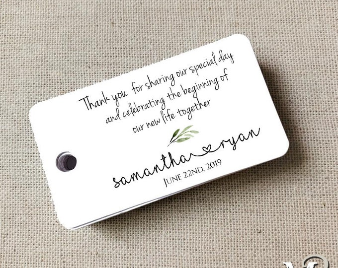 Thank You Wedding Tags, Custom Favor Tags, Guest Gift Tag, Wedding Favor Gift Tag Set of 20 (2228)