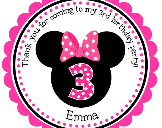 Personalized Minnie Mouse Stickers, Gift Tags, Party Favors, Address Labels, Birthday Stickers, Custom Stickers  - Set of 12
