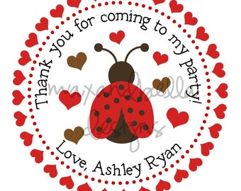 Lady Bug and Hearts Personalized Stickers, Valentines Day, Goodie Bags, Gift Tags, Party Favors, Pink, Hearts, Polka Dots, Seals - Set of 12