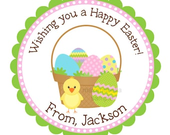 Easter Chick with Eggs Personalized Stickers, Labels, Seals, Hang Tags, Gift Tags, Easter, Envelope Seals - Set of 12