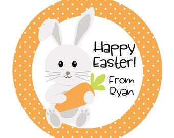 Easter Stickers, Happy Easter, Bunny Stickers, Childrens Easter Stickers, Kids Easter, Personalized Stickers - Set of 12 or 24