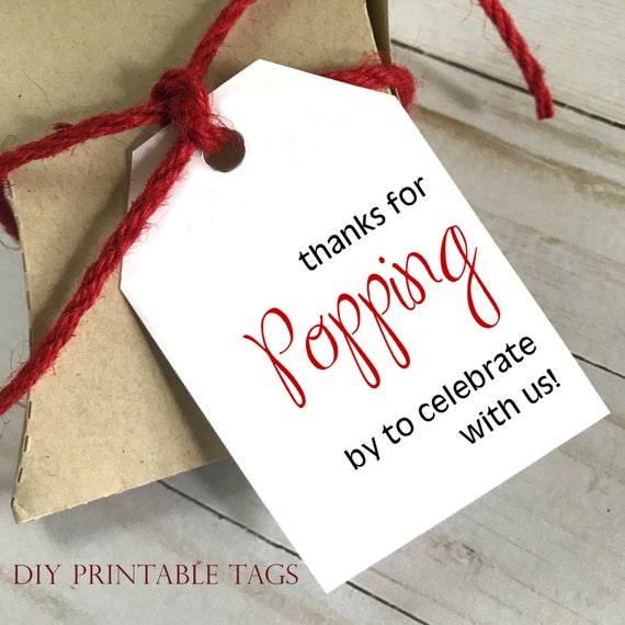 DIY PRINTABLE Tags     Thanks For Popping By     Printable Gift Tags   Wedding Gift Tags   Shower Gift Tags