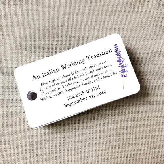 Sugared Almonds Personalized Tags Lavender Sprig, Almond Favor Tags, Wedding Favor, Wedding Bomboniere, Jordan Almonds - Set of 20 (3932)