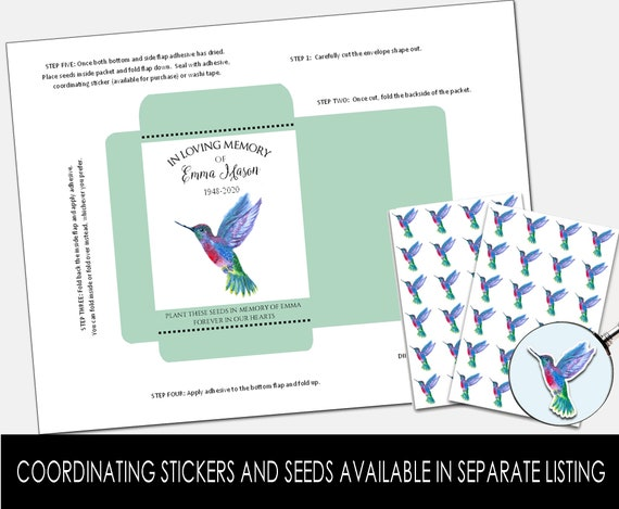 DIY Custom Seed Packets, Celebration of Life, Funeral, Memorial, In Loving Memory, In Memory Of, Funeral Favor (8287)