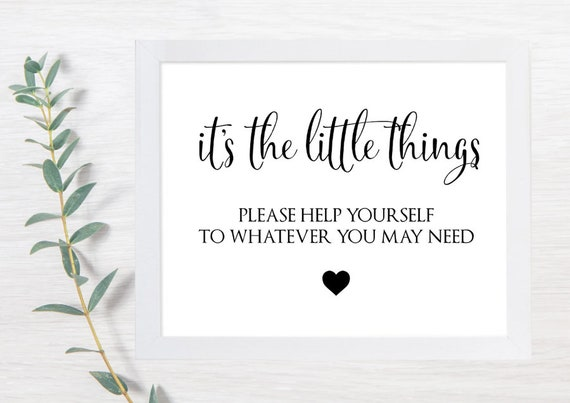 PRINTABLE Bathroom Sign Wedding, Ladies Restroom Sign, It's the Little Things, Please Help Yourself Sign, Bathroom Basket, Wedding Sign, DIY