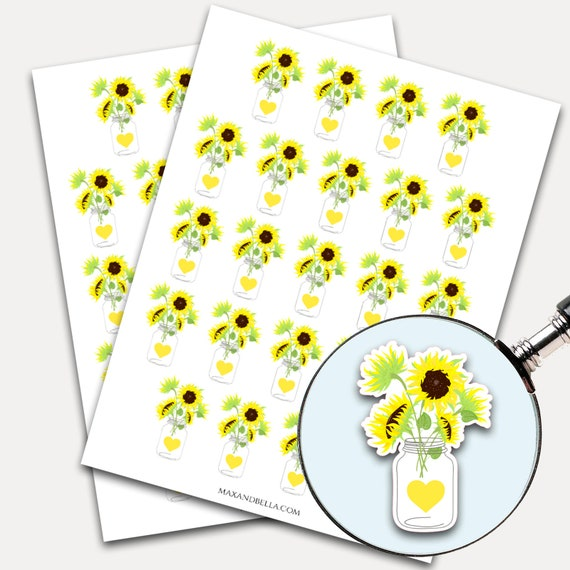 Sunflower Stickers, Sunflower Decal, Planner Stickers, Flower Stickers, Watercolor, Yellow Flower, Planner Sticker, Laptop Sticker (2486)
