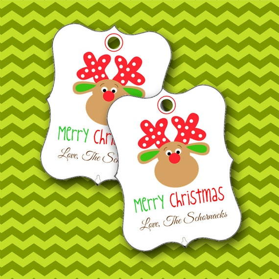 Christmas Tags, Reindeer Tags, Personalized Tags, Christmas Favors, Party Favors - Set of 8