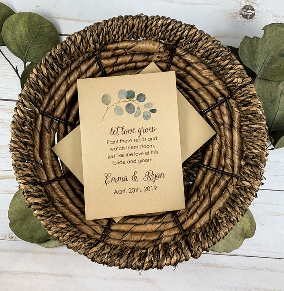 DIY Custom Seed Packets, Daisy, Custom Envelope, Kraft, Personalized Envelopes, Wedding Favors, Bridal Shower, Seed Packet, Let Love Grow